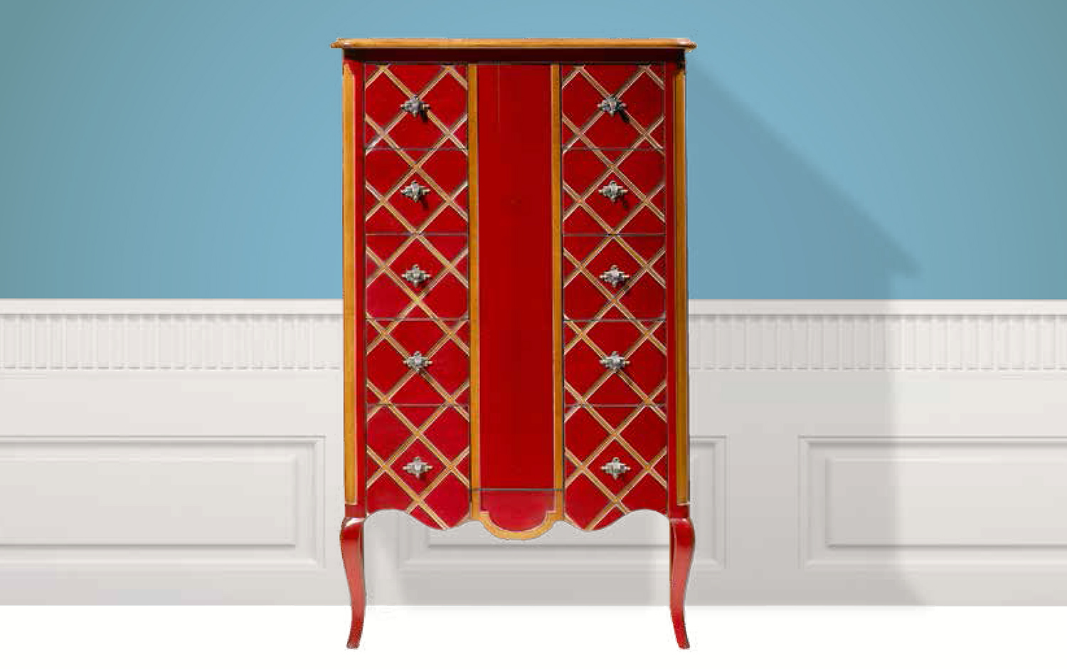 Small cabinet Bohemian red
