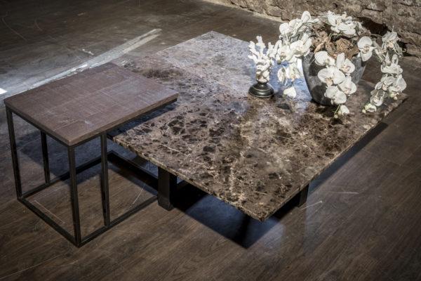Havezate hout marmer salontafel vierkant