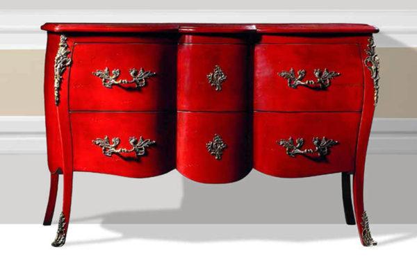 bohemian shabby chique dressoir kommode commode kleinmeubel rood
