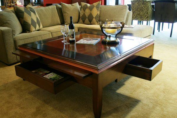 salontafel vierkant met lades en schuifplankjes