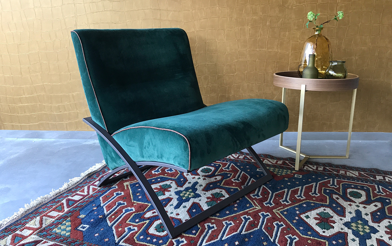 ghyczy modern fauteuil zonder leuning velvet