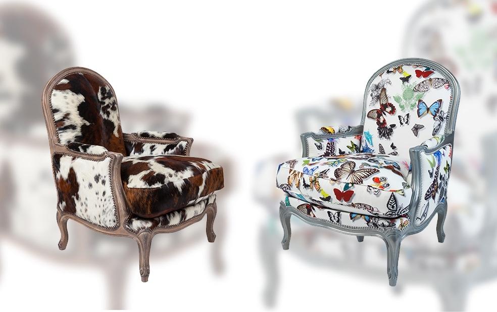 franse fauteuil met hout in vlinderstof grange