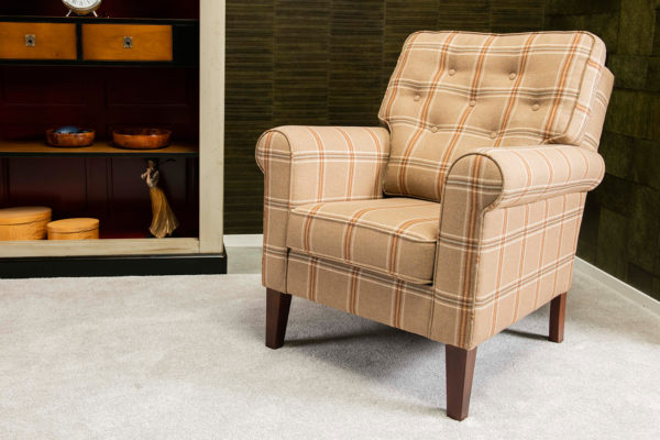 Helen fauteuil gecapitonneerd rug stoel engelse wollen ruit wingchair engelse meubels chairs